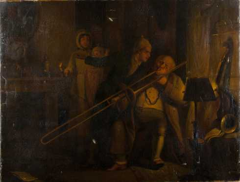 Carl Zimmerman painting of an elderly gentleman playing the trombone