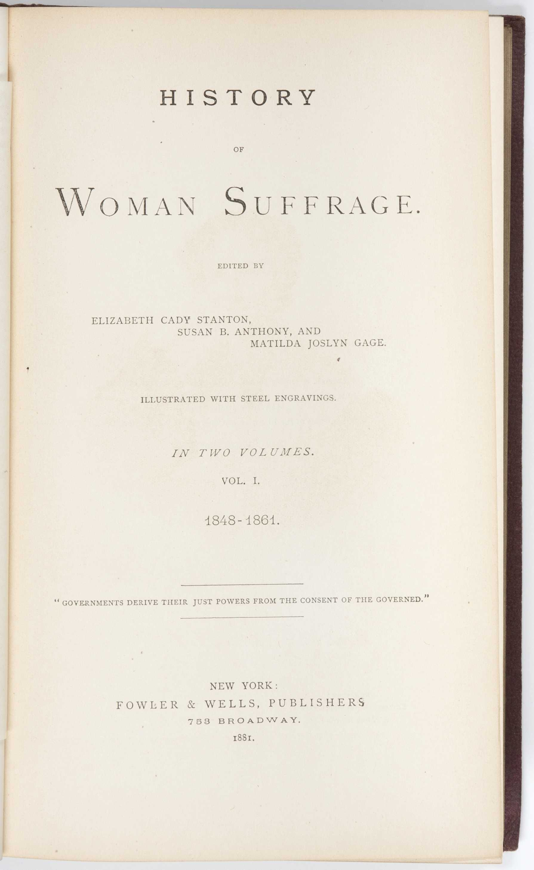 History of Woman Suffrage by Elizabeth Cady Stanton, Susan B ...