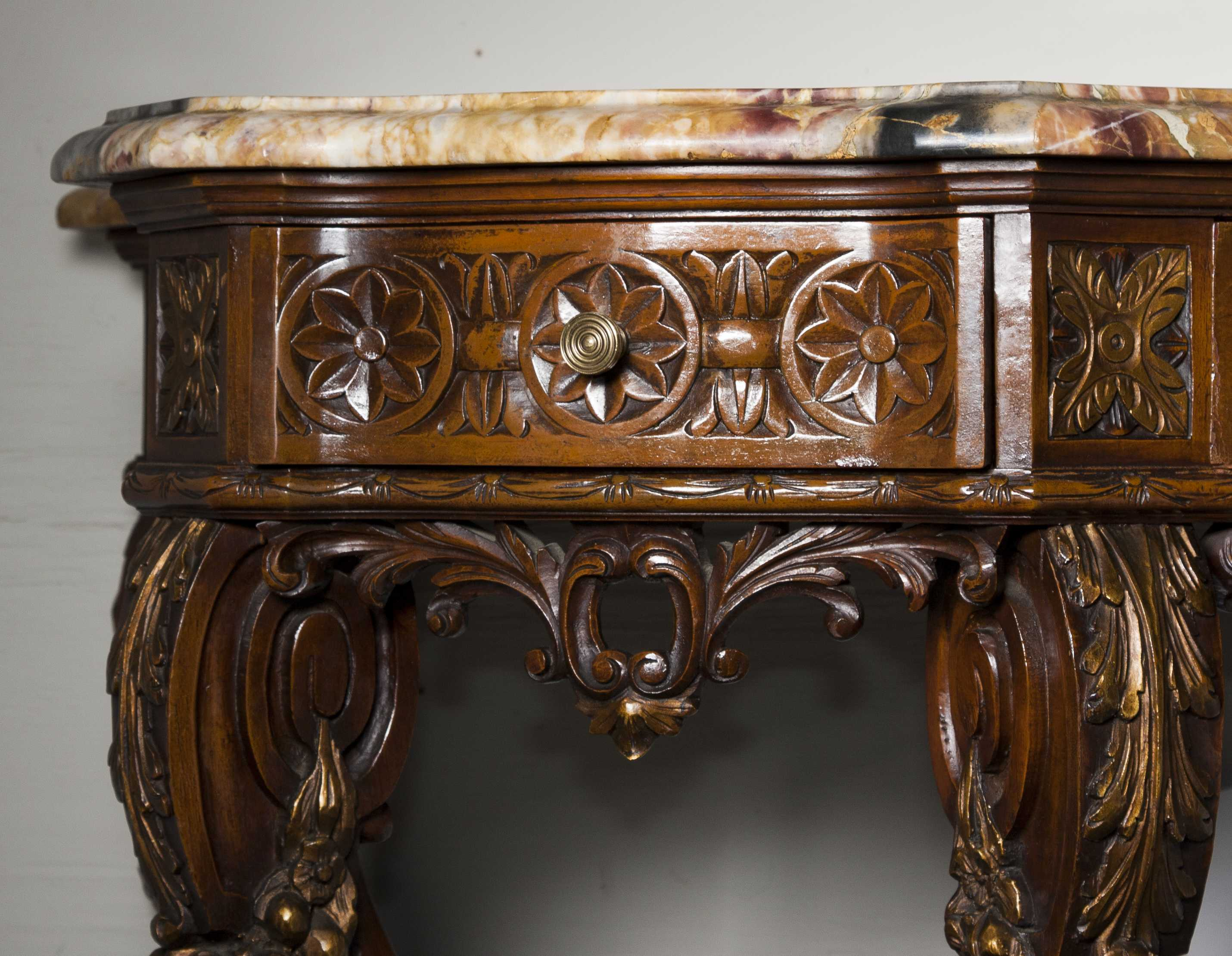 Superb Continental Marble Top Console Table