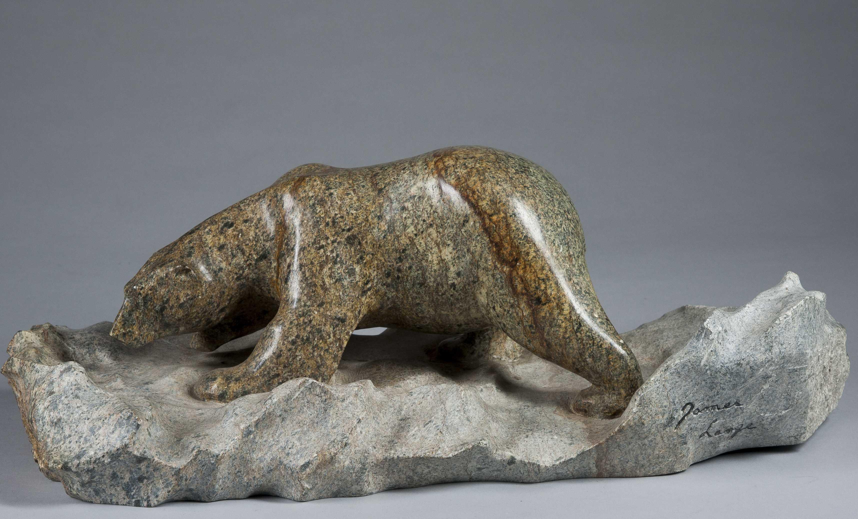 Inuit carved stone polar bear