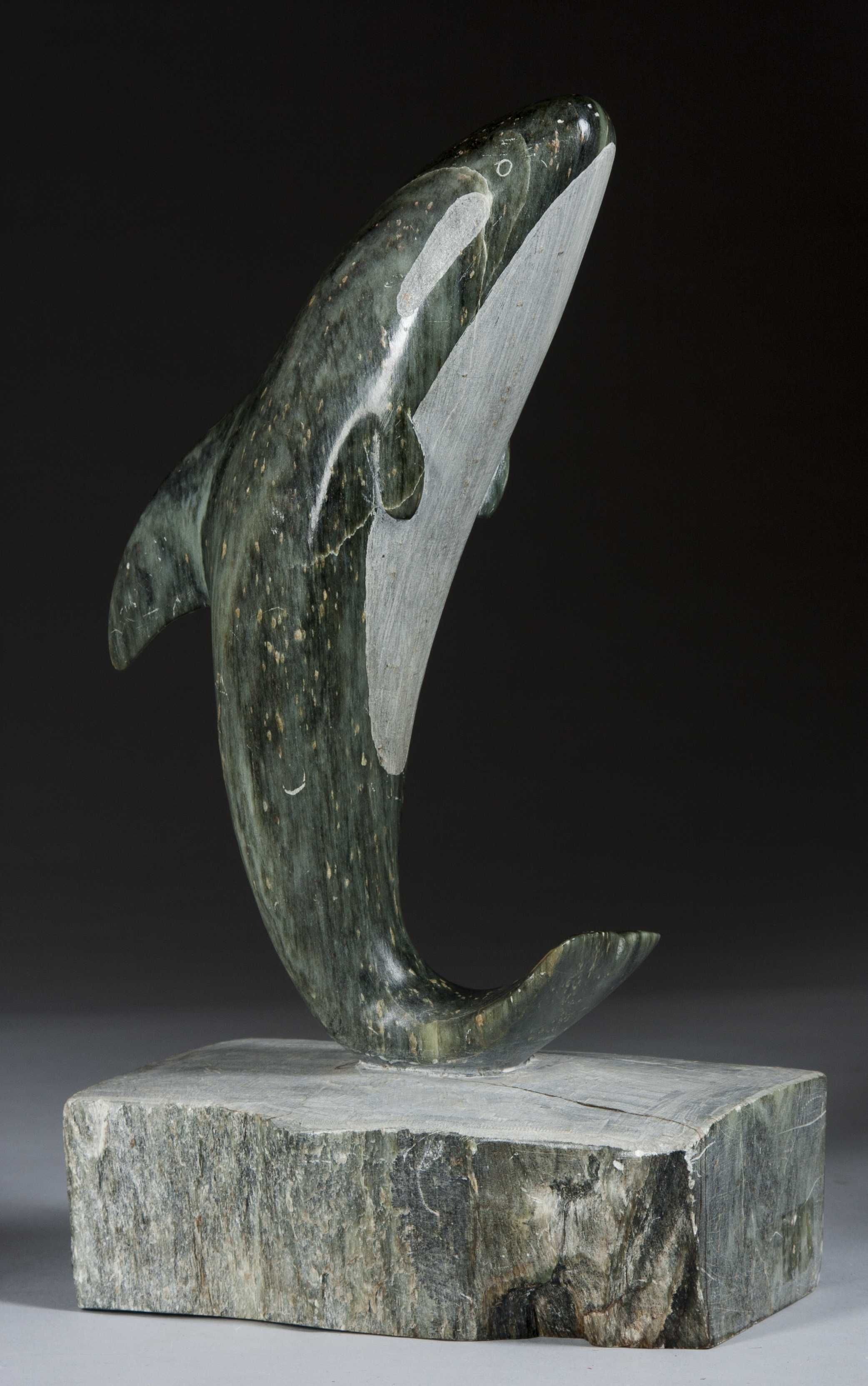Inuit Soapstone Killer Whale Statue
