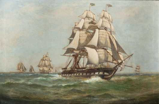 C. Myron Clark, painting of the USS Constitution