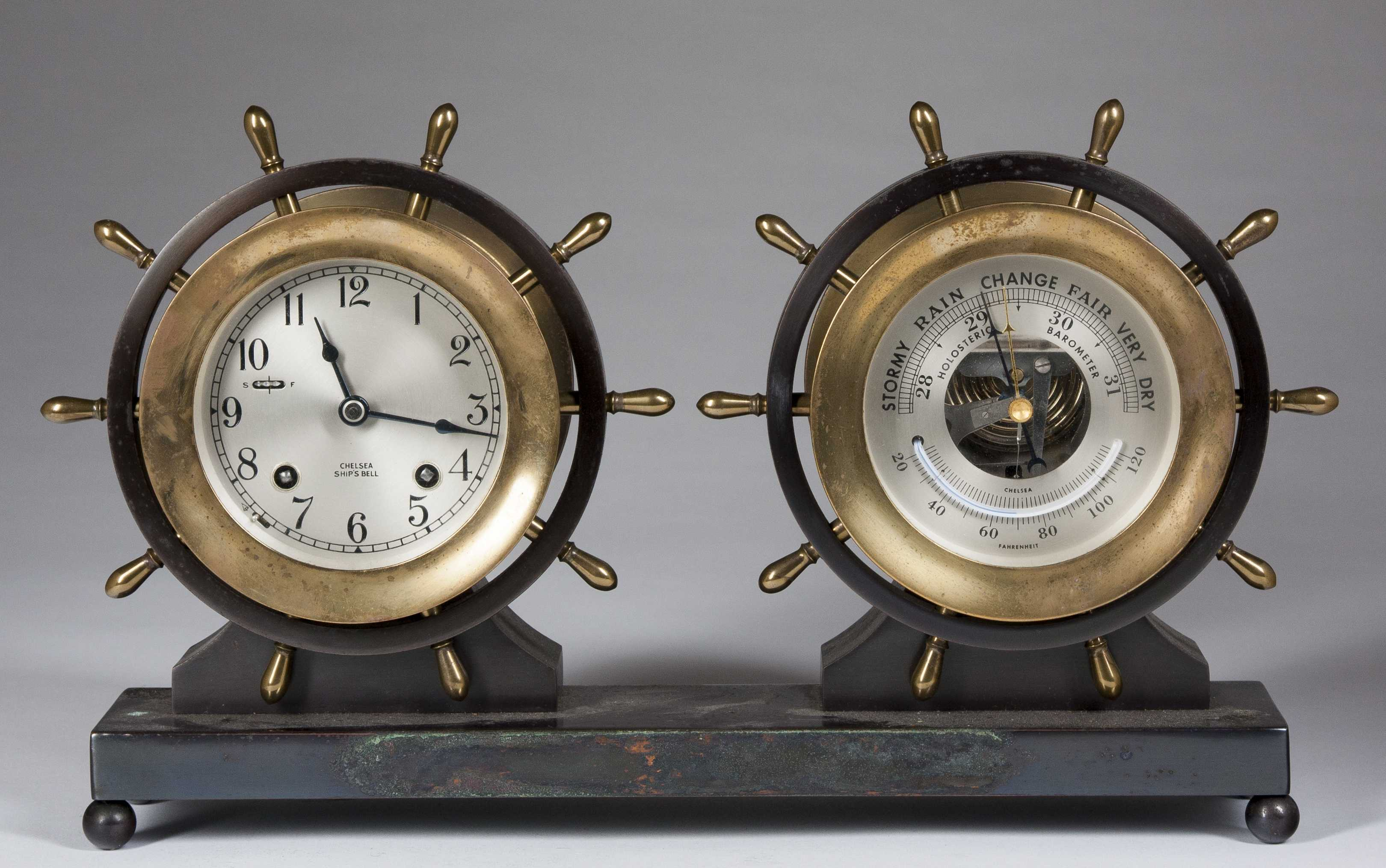 Brass Chelsea Ship S Bell Clock And Chelsea Holosteric Barometer Set