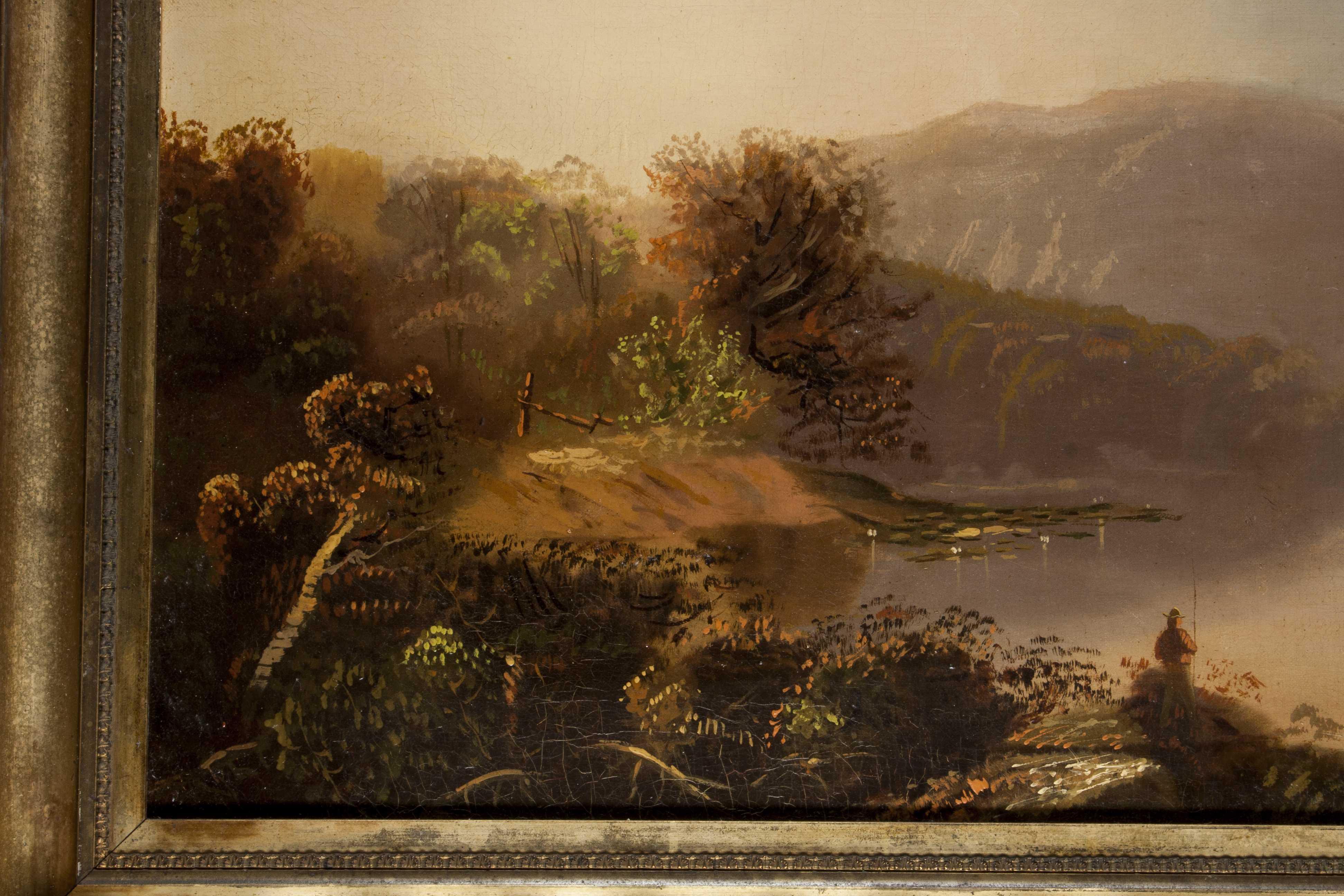 Hudson River School Landscape Of A Man Fishing