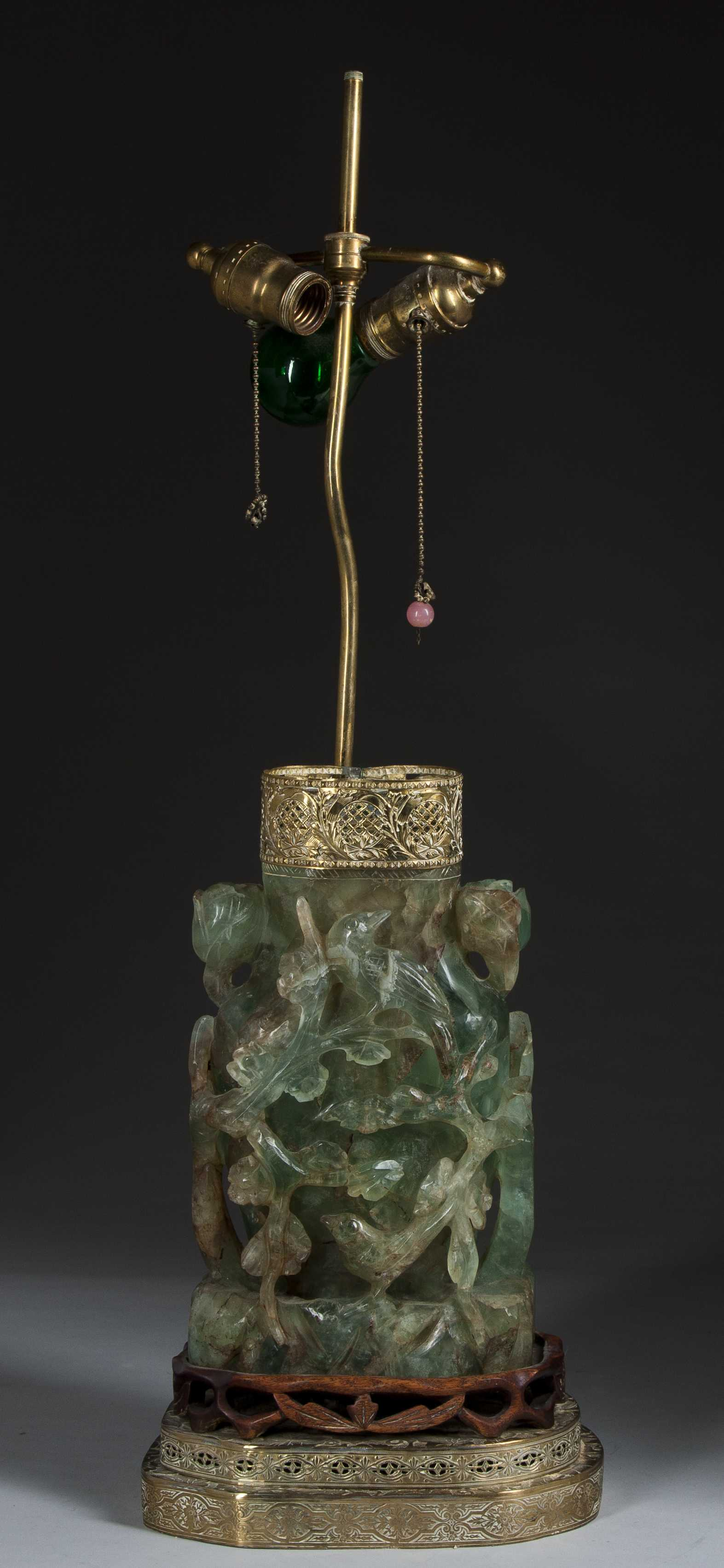 Exceptional Carved Jade Lamp