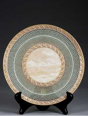 1883 Royal Worcester Porcelain Reticulated Plate