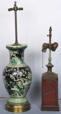 Two Chinese Export Porcelain Lamps