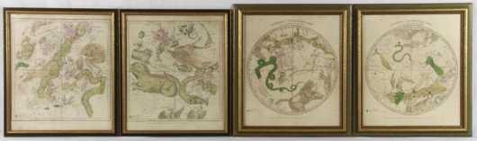 F.J. Huntington 1835 Set of 2 Astrological Maps and 2 Circumpolar Maps