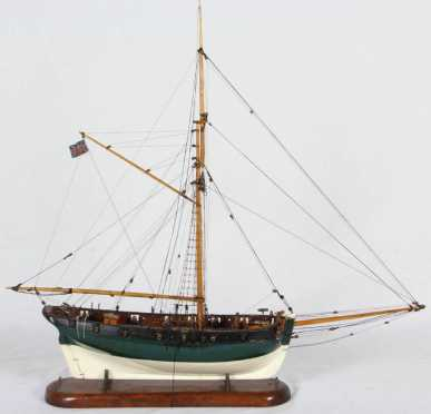 "Revenue Cutter Ship Model, a model of the ""Diligence"" 1817"