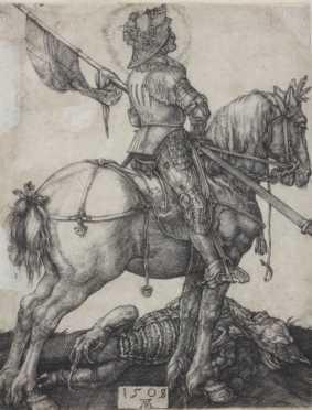 Albrecht Durer original engraving of St. George on horseback