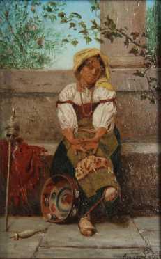 Edmond Lebe oil on panel of an Italian dancing girl