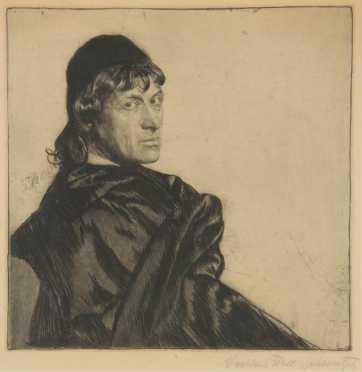 """Ferdinand Schmutzer etching of """"Josef Kainz"""""""