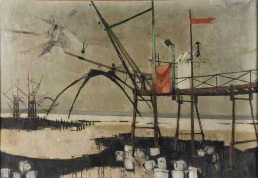 Yves Ganne oil on canvas of loading dock stations at a port