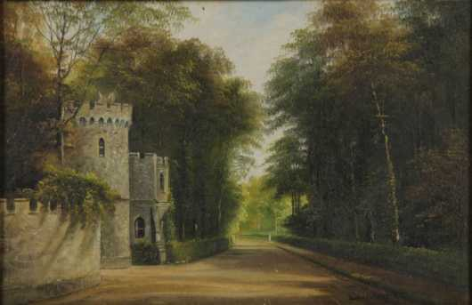 George Willis Pryce, oil on canvas of a castle wall