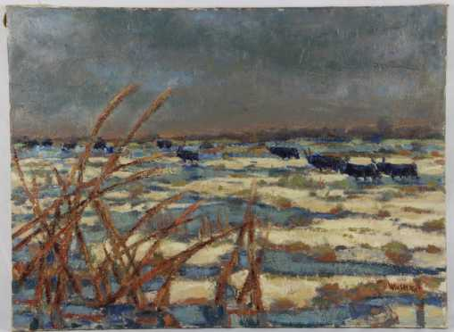 Jacques Winsberg, oil on canvas of an impressionistic Winter landscape