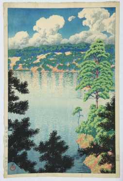 "Kawase Hasui,  ""Karasu Marsh, Akita,"" first edition"