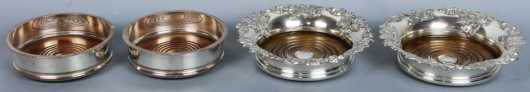 Two Pair of Sheffield Silver Wine Coasters