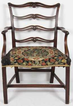 English Chippendale Ribbon-back Arm Chair