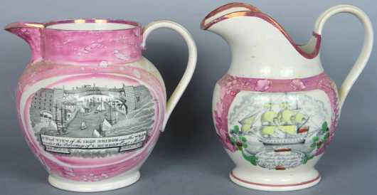 Two Pink Luster Commemorative Pitchers