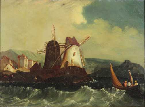 Frederick Calvert oil on panel landscape of a Dutch scene