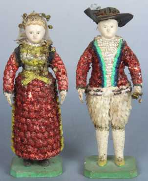 19th Century Pair of Figural Shell Dolls