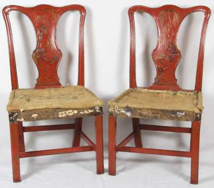 Pair of English Chippendale Chairs with Chinoiserie Decoration