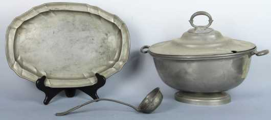 Oval Pewter Tureen and Tray