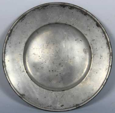17th Century  Pewter Plate, touch marks of 1669 by Leonard S. Bourrelie
