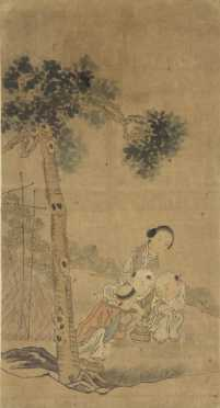 Chinese Painting on Silk of a domestic scene