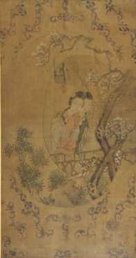 Chinese Watercolor Painting, depicting a mother and daughter embracing