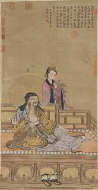 Woven Chinese Picture, depicting a woman attending an old gentleman