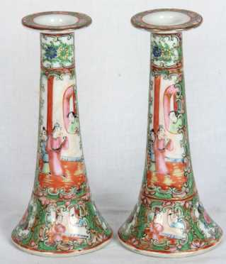 Rose Medallion Pair of Candlesticks
