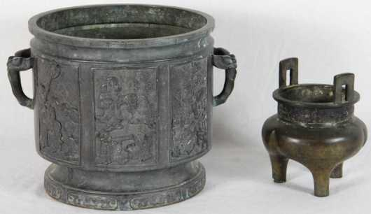Lot of Two Chinese Cast Bronze Items