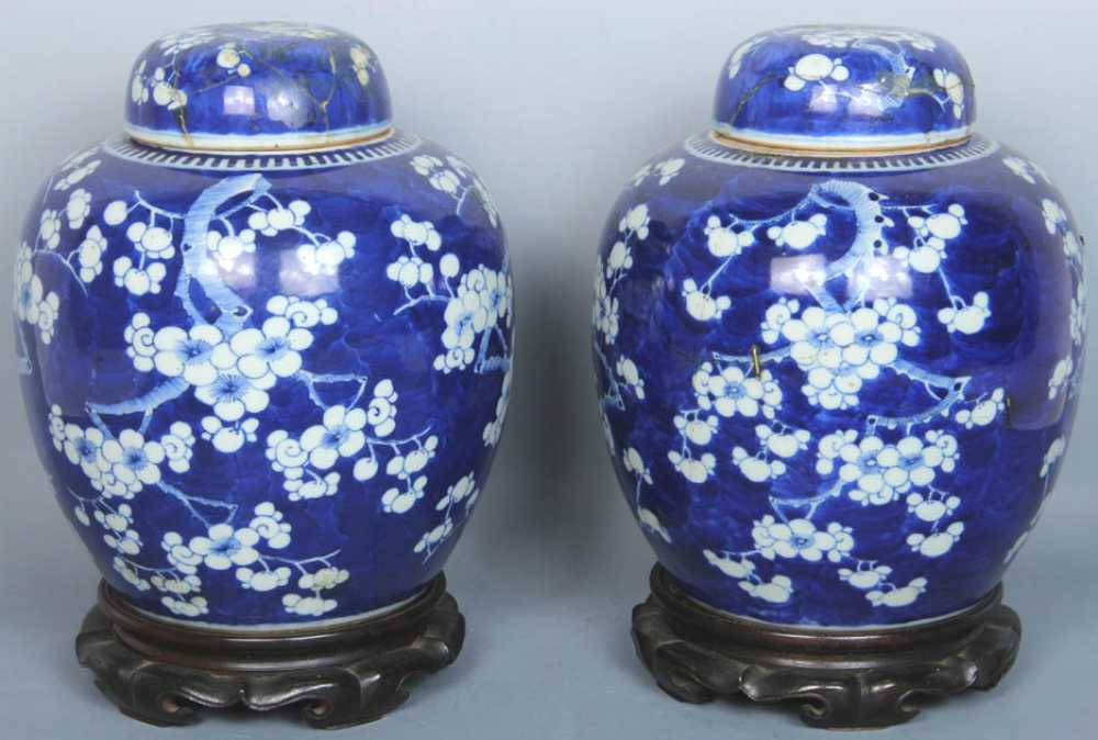 chinese pair of blue and white ginger jars