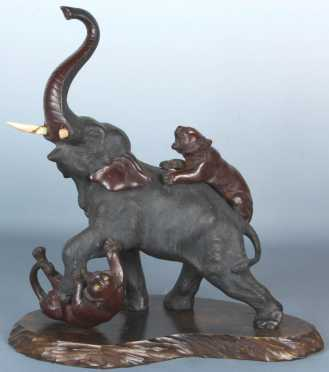 Japanese Bronze Elephant with ivory tusks