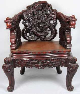 Chinese Carved Wooden Armchair