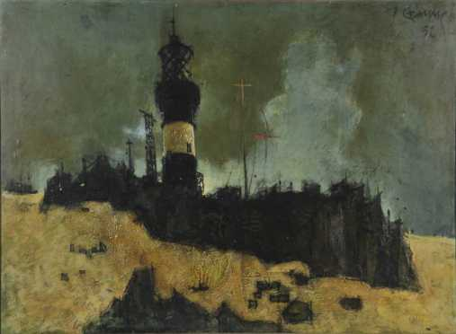 Yves Ganne, oil on canvas impressionistic landscape of a lighthouse