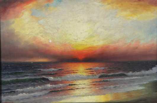 R. Dey De Ribcowski,  oil on canvas painting of an ocean wave seascape