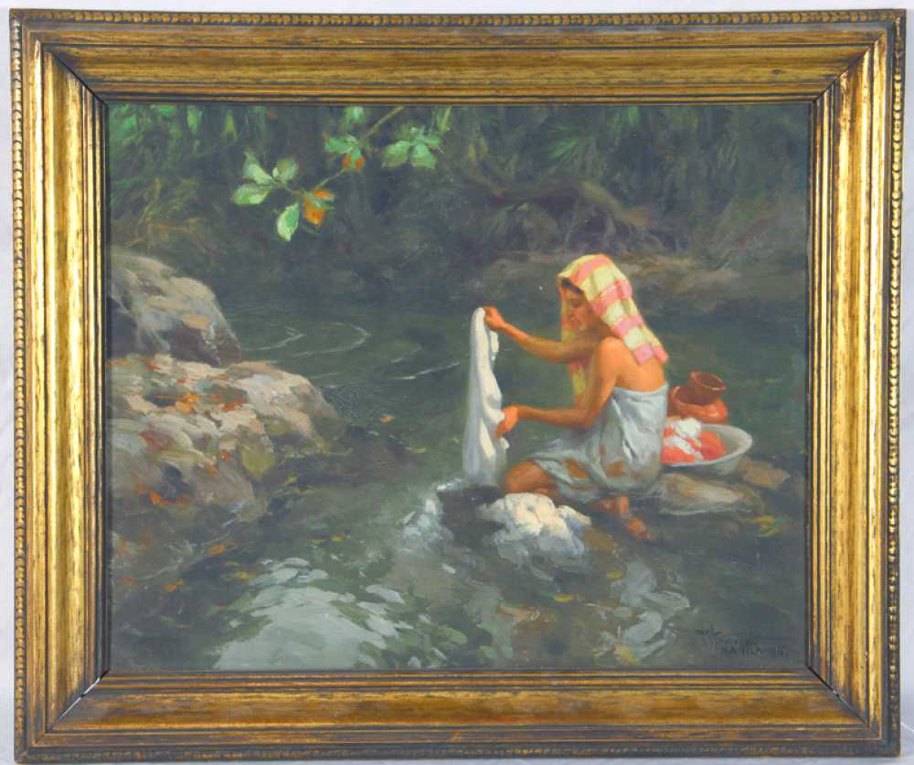 Fernando Amorsolo Oil On Board Of A Young Woman Washing Clothing In A Stream