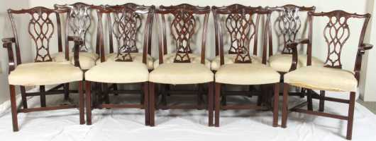 Set of 10 Chippendale Style Dining Chairs