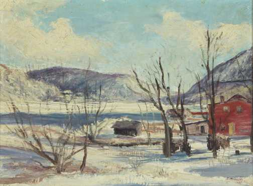 Ira Moskowitz,  oil on board of a winter landscape