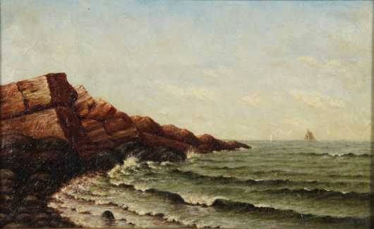 "American Seascape, oil on canvas signed  ""FWD"""
