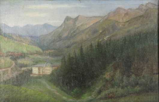 "Primitive Landscape, oil on canvas of the ""Overlook Inn, Colorado,"""