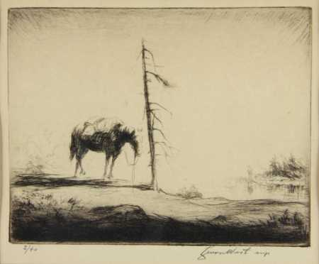 Levon West, etching