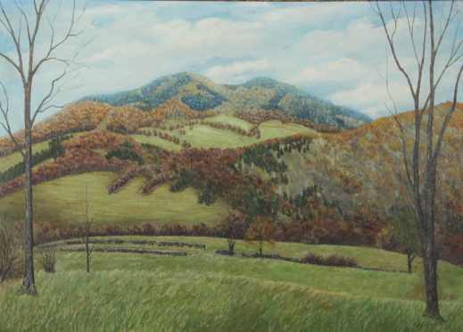 William Blair Bruce attributed,  oil on canvas landscape of  'The Ascutney's'