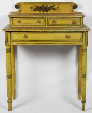 Sheraton Yellow Paint Decorated Dressing Table