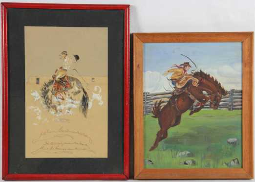 Two Cowboy Paintings: Bella Hagner and G.K. Bourk