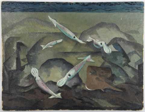 """Frederick Rhodes Sisson, oil on board of """"Squid and Stingray"""""""