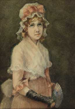 A.H. Williams, watercolor on paper of a young girl