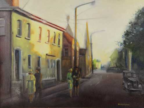A.O. Callaghan,  oil on canvas of a early 20th street scene